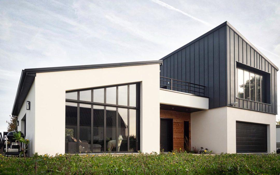 Construction maison neuve avec toit-cathédrale à Sainte-Honorine-du-Fay (Calvados-14)